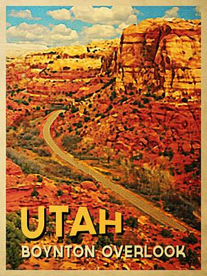 Escalante Digital Art - Utah Boynton Overlook by Flo Karp