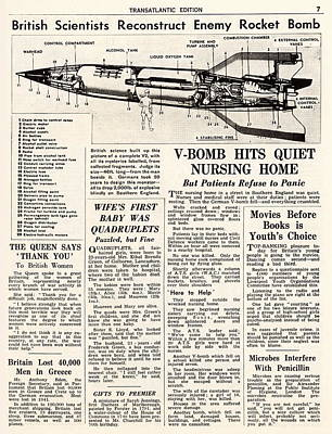 V2 Rocket Photograph - V-2 Reconstruction In The Daily Mirror by Detlev Van Ravenswaay