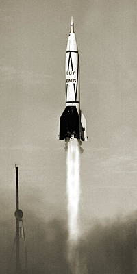 V-2 Rocket Launch In Usa Print by Detlev Van Ravenswaay