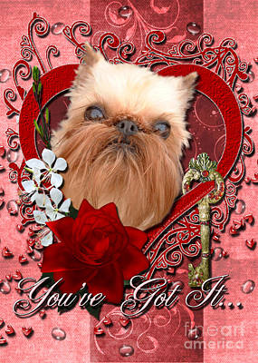 Griffon Digital Art - Valentines - Key To My Heart Brussels Griffon by Renae Laughner