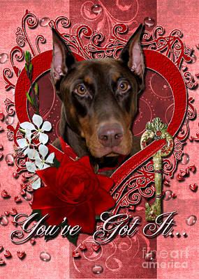 Valentines - Key To My Heart Doberman Print by Renae Laughner