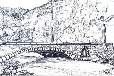 Yosemite National Park Drawing - Valley Bridge by DJ Laughlin