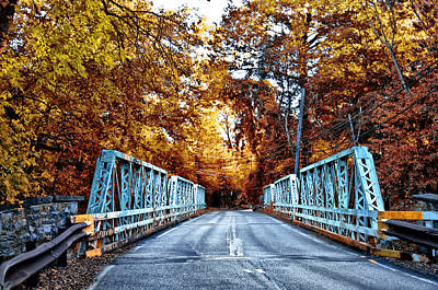 Valley Green Road Bridge In Autumn Print by Bill Cannon