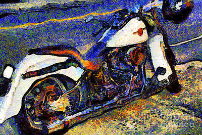 Made In The Usa Digital Art - Van Gogh.s Harley-davidson 7d12757 by Wingsdomain Art and Photography