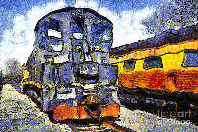 Van Gogh.s Locomotive . 7d11588 Print by Wingsdomain Art and Photography