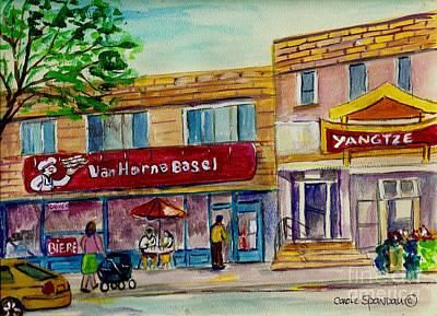 Montreal Memories Painting - Van Horne Bagel With Yangzte Restaurant by Carole Spandau