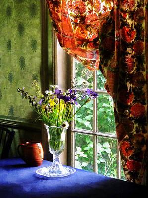 Vase Of Flowers And Mug By Window Print by Susan Savad