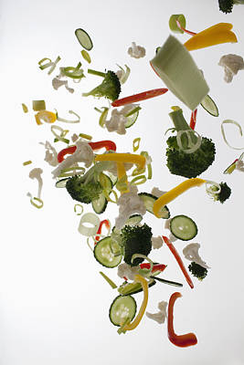 Vegetables Against A White Background Print by Dual Dual