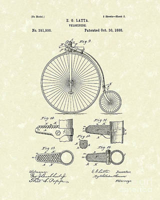 Bicycle Drawing - Velocipede Latta 1888 Patent Art by Prior Art Design