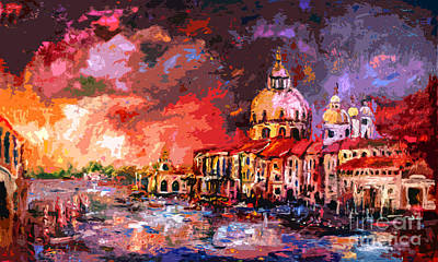 Impressionism Mixed Media - Venice Canal Italy  by Ginette Callaway