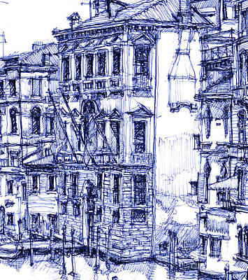Pen Drawing - Venice Detail In Blue by Building  Art