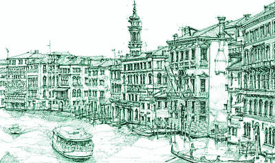 Venice Drawing In Green Print by Building  Art