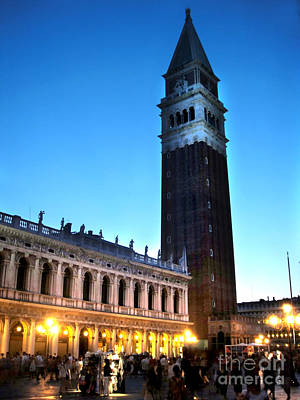 Venice Italy - Saint Marks Campanile At Night Print by Gregory Dyer