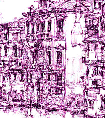 Pen Drawing - Venice Palace In Purple by Building  Art