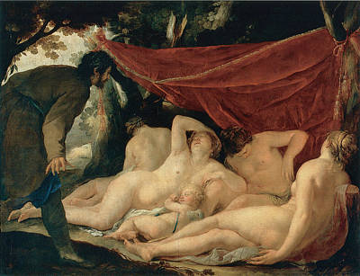 Venus And The Graces Surprised By A Mortal Print by Jacques Blanchard