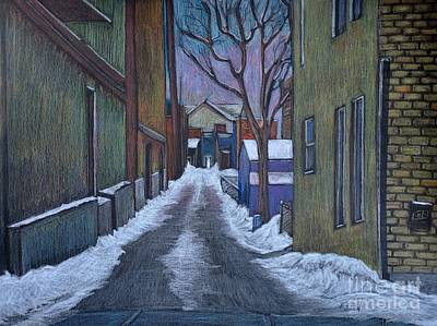 Montreal Drawing - Verdun Alley In Early Spring by Reb Frost