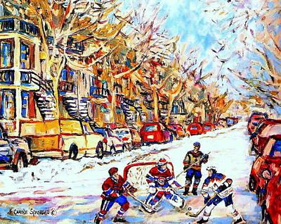 Of Verdun Hockey Scenes Montreal Street Scene Artist Carole Painting - Verdun Street Hockey Game Goalie Makes The Save Classic Montreal Winter Scene by Carole Spandau