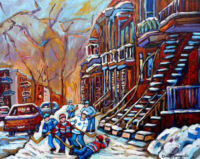 Verdun Street Scene Hockey Game Near Winding Staircases Vintage Montreal City Scene Print by Carole Spandau