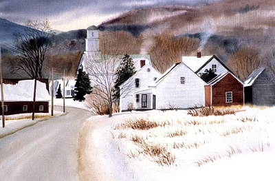 Vermont Winter Village Print by Karol Wyckoff