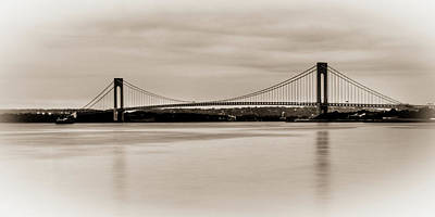 Verrazano-narrows Bridge B-w Print by David Hahn