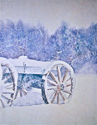 Old Wooden Wagon Painting - Vestige Of Yesterday by Carolyn Rosenberger