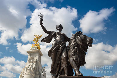 Landscape Photograph - Victoria Memorial Fountain Statues by Andrew  Michael