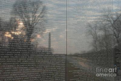 Washington Monument Photograph - Vietnam Veterans Memorial  by Clarence Holmes
