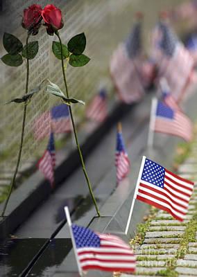 Flower Memorial Photograph - Vietnam War Memorial by Stocktrek Images
