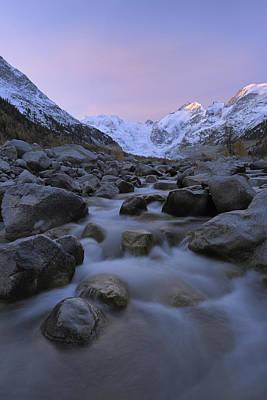 View From Val Morteratsch To Morteratsch Glacier, Piz Morteratsch, Piz Bernina, Engadin, St Moritz, Graubunden, Switzerland Print by Martin Ruegner