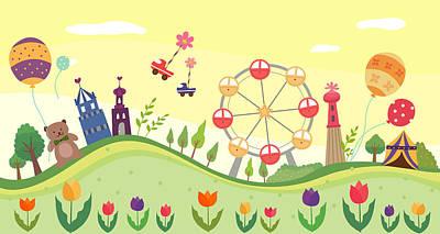 View Of Amusement Park Print by Eastnine Inc.