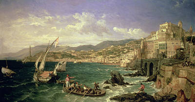 Italian Landscape Painting - View Of Genoa by William Parrott