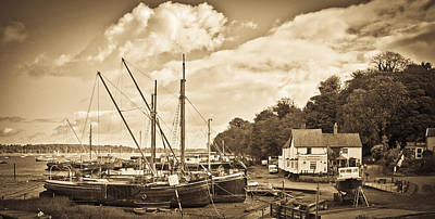 View Of Pin Mill From King's Yard Sepia Print by Gary Eason