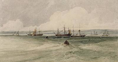 Estuary Painting - View Of Sheerness by Francois Louis Thomas Francia