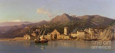 Sicily Painting - View Of Taormina Sicily by Alessandro la Volpe