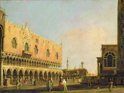 View Of The Piazzetta San Marco Looking South Print by Canaletto