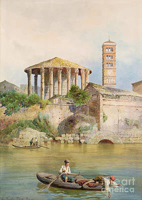 Temple Painting - View Of The Sbocco Della Cloaca Massima Rome by Ettore Roesler Franz