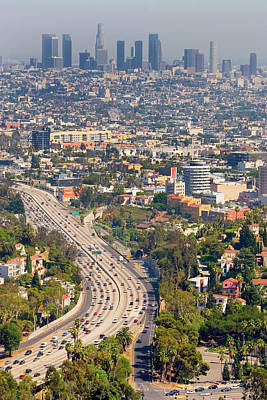 View Over Hollywood & Downtown Los Angeles Print by Photograph by Geoffrey George