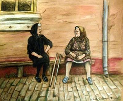 Old Friends Drawing - Village Gossip by Linda Nielsen