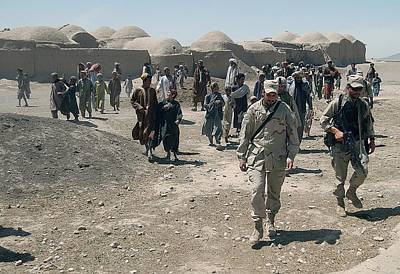 Villagers From Nojoy Outside Kandahar Print by Everett