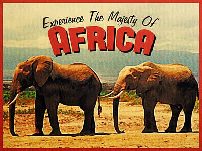 Elephant Digital Art - Vintage Africa Elephants by Flo Karp