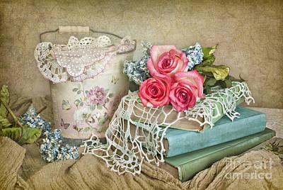 Vintage Books And Roses Print by Cheryl Davis