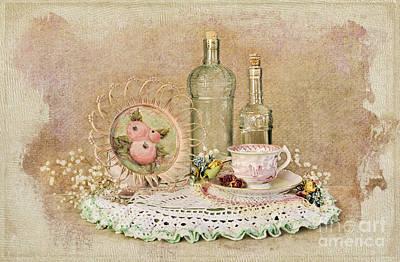 Vintage Bottles And Teacup Still-life Print by Cheryl Davis