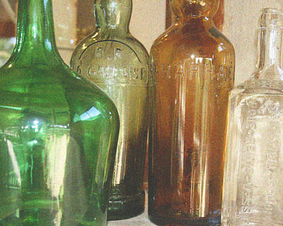Vintage Bottles Print by Georgia Fowler