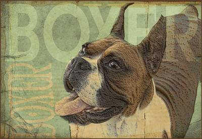 Vintage Boxer Dog Print by Wendy Presseisen
