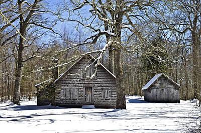 Vintage Buildings In The Winter Snow Print by Susan Leggett