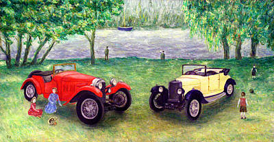 Picnic Hamper Painting - Vintage Car Picnic by Ronald Haber