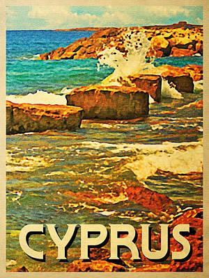Cyprus Digital Art - Vintage Cyprus Rocky Shore by Flo Karp