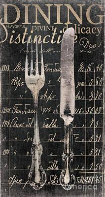 Vintage Dining Utensils In Black  Print by Grace Pullen