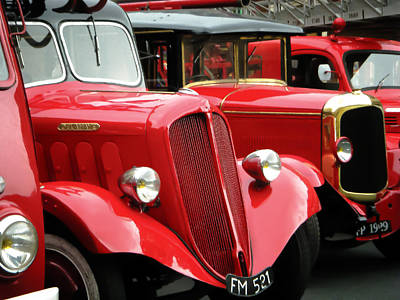 Old Trucks Photograph - Vintage Fire Trucks by Tony Grider