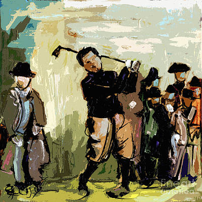 Vintage Golfer And Spectators Print by Ginette Callaway
